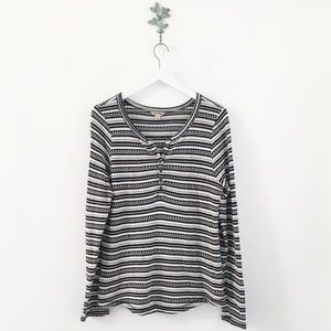 Lucky Brand Chloe Stripe Thermal Henley Top XL